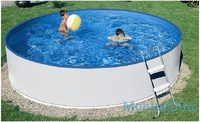 Бассейн сборный Azuro 360 диам. 3,6 х 0.9 м. металлический каркас белый лестница фильтр