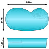 Композитный бассейн НЕРО 5.65х2.6х1.5 м Fiberpools