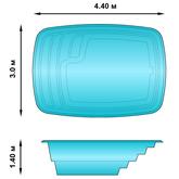 Композитный бассейн ТАХО 4.4х3х1.4 м Fiberpools